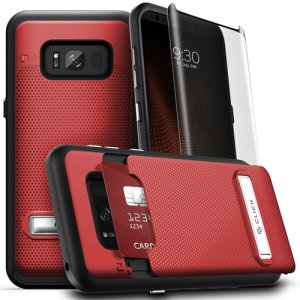 With a kickstand feature, hidden card compartment and included super-strong tempered glass screen protector, the Click case in red from Zizo is the perfect companion for your Samsung Galaxy S8. This is a hard-wearing, useful and attractive case.