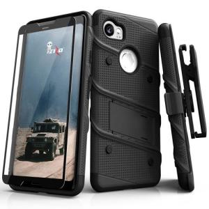 Equip your Google Pixel 2 XL with military grade protection and superb functionality with the ultra-rugged Bolt case in black from Zizo. Coming complete with a handy belt clip and integrated kickstand.