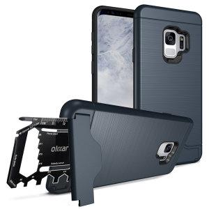 Mettez en condition votre Samsung Galaxy S9 pour l'aventure et les grands espaces à l'aide de la coque Olixar X-Ranger Survival en coloris bleu marine. Robuste et polyvalente, elle protège idéalement votre Samsung Galaxy S9 au quotidien tout en incluant une béquille de visualisation et un compartiment sécurisé dédié soit au rangement de votre carte bancaire, soit au rangement de l'outil multifonction inclus.