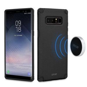 Diese attraktive schwarze Gitter Samsung Galaxy Note 8 Hülle von Olixar bietet eine perfekte Passform, außergewöhnlicher Griff und Schutz vor Kratzern, Stößen und Stürze. Die Hülle kommt gebündelt mit zwei Metallplatten und magnetischen haltern für eine bequeme Montage.