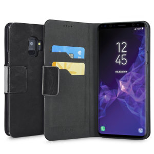Protect your Samsung Galaxy S9 with this durable and stylish black leather-style wallet case by Olixar. What's more, this case transforms into a handy stand to view media.