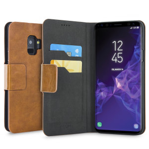 Protect your Samsung Galaxy S9 with this durable and stylish tan leather-style wallet case by Olixar. What's more, this case transforms into a handy stand to view media.