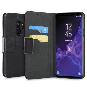 Protect your Samsung Galaxy S9 Plus with this durable and stylish black leather-style wallet case by Olixar. What's more, this case transforms into a handy stand to view media.