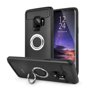 Made for the Samsung Galaxy S9, this tough black and silver ArmaRing case from Olixar provides extreme protection and a finger loop to keep your phone in your hand, whether from accidental drops or attempted theft. Also doubles as a stand