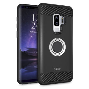Made for the Samsung Galaxy S9 Plus, this tough black and silver ArmaRing case from Olixar provides extreme protection and a finger loop to keep your phone in your hand, whether from accidental drops or attempted theft. Also doubles as a stand