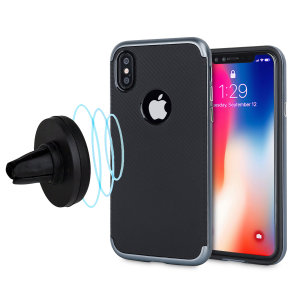 Protect your stunning iPhone X and mount your device in your vehicle with this XDuo case & vent mount combo in metallic grey from Olixar. The XDuo sports a premium non-slip matte carbon fibre design, while the mount clips effortlessly to your air vent.