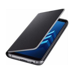 Schützen Sie Ihr Galaxy A8 2018 Rücken, Seiten und Bildschirm vor Schaden und dabei Ihre wichtigsten Karten schnell zur hand mit dem offiziellen schwarzen Neon Flip Brieftasche Cover von Samsung