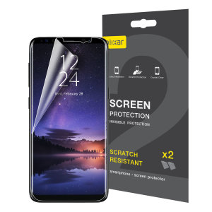 Keep your Samsung Galaxy S9 screen in pristine condition with this Olixar scratch-resistant screen protector 2-in-1 pack.