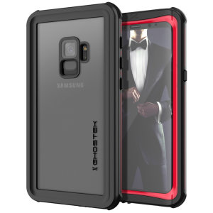 Shield your precious Samsung Galaxy S9 on both land and at sea with the extremely tough, yet incredibly stylish Nautical Series Waterproof case from Ghostek in black with red trim. Protecting your S9 from depths of up to 1 meter for up to 30 minutes.