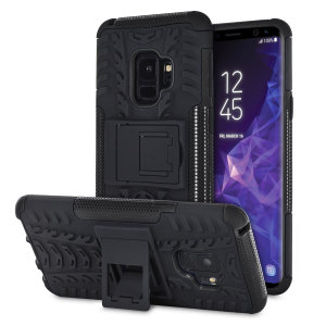 Protect your Samsung Galaxy S9 from bumps and scrapes with this black ArmourDillo case from Olixar. Comprised of an inner TPU case and an outer impact-resistant exoskeleton, with a built-in viewing stand.