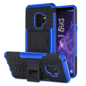 Protect your Samsung Galaxy S9 from bumps and scrapes with this blue ArmourDillo case from Olixar. Comprised of an inner TPU case and an outer impact-resistant exoskeleton, with a built-in viewing stand.
