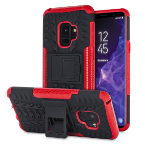 Protect your Samsung Galaxy S9 from bumps and scrapes with this red ArmourDillo case from Olixar. Comprised of an inner TPU case and an outer impact-resistant exoskeleton, with a built-in viewing stand.