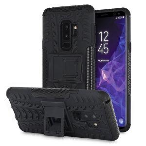 Gracias a esta funda ArmourDillo podrá proteger de golpes y arañazos su Samsung Galaxy S9 Plus. Su interior está fabricado de un conocido material llamado TPU mientras que su exterior es de policarbonato. Además incluye función de soporte de visualización multimedia.