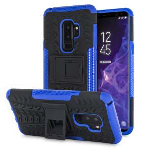Protect your Samsung Galaxy S9 Plus from bumps and scrapes with this black and blue ArmourDillo case from Olixar. Comprised of an inner TPU case and an outer impact-resistant exoskeleton, with a built-in viewing stand.