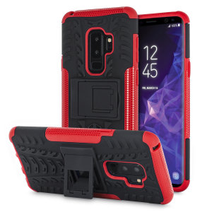 Protect your Samsung Galaxy S9 Plus from bumps and scrapes with this black and red ArmourDillo case from Olixar. Comprised of an inner TPU case and an outer impact-resistant exoskeleton, with a built-in viewing stand.