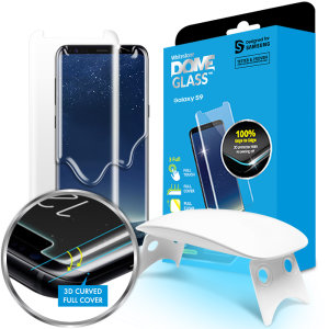 The Dome Glass screen protector for Galaxy S9 from Whitestone uses a proprietary UV adhesive installation to ensure a total and perfect fit for your device. Also featuring 9H hardness for absolute protection, as well as 100% touch sensitivity retention.