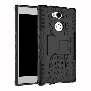 Protect your Sony Xperia L2 from bumps and scrapes with this black ArmourDillo case. Comprised of an inner TPU case and an outer impact-resistant exoskeleton, with a built-in viewing stand.