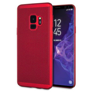 A supremely precision engineered lightweight slimline case in brazen red with a perforated mesh pattern that looks great, adds grip and aids heat dissipation from your Galaxy S9, as well as enhance the high performance beauty of the device.