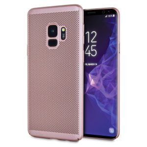 A supremely precision engineered lightweight slimline case in rose gold with a perforated mesh pattern that looks great, adds grip and aids heat dissipation from your Galaxy S9, as well as enhance the high performance beauty of the device.