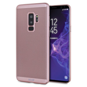 A supremely precision engineered lightweight slimline case in rose gold with a perforated mesh pattern that looks great, adds grip and aids heat dissipation from your Galaxy S9 Plus, as well as enhance the high performance beauty of the device.