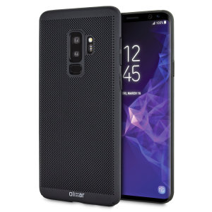 A supremely precision engineered lightweight slimline case in tactical black with a perforated mesh pattern that looks great, adds grip and aids heat dissipation from your Galaxy S9 Plus, as well as enhance the high performance beauty of your device.