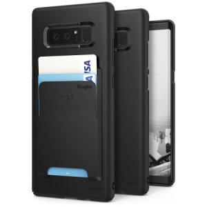 Provide your Samsung Galaxy Note 8 with ultra-thin, tough snap-on protection with this Ringke Slim black polycarbonate case with card holder.