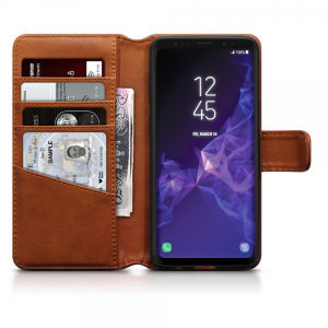 This cognac genuine leather wallet case from Olixar offers perfect protection for your Samsung Galaxy S9. Featuring premium stitch finishing, as well as featuring slots for your cards, cash and documents.