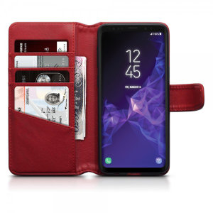 The red genuine leather wallet case from Olixar offers perfect protection for your Samsung Galaxy S9. Featuring premium stitch finishing as well, as featuring slots for your cards, cash and documents.