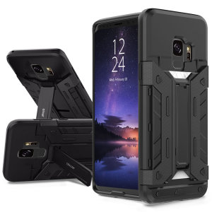 Equip your Samsung Galaxy S9 with rugged protection and superb functionality with the X-Trex case in black from Olixar. Featuring a handy kickstand for viewing media in both portrait and landscape and an ingenious secure credit card compartment.