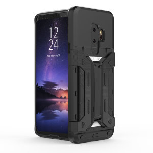 Equip your Samsung Galaxy S9 Plus with rugged protection and superb functionality with the XTrex case in black from Olixar. Featuring a handy kickstand for viewing media in both portrait and landscape and an ingenious secure credit card compartment.