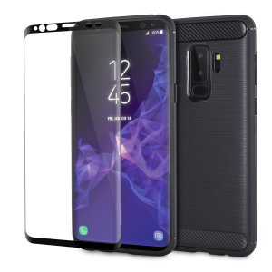 Flexible rugged casing with a premium matte finish non-slip carbon fibre and brushed metal design, the Olixar Sentinel case in black keeps your Samsung Galaxy S9 Plus protected from 360 degrees with the added bonus of a tempered glass screen protector.