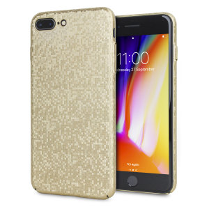 Enhance your iPhone 8 Plus with this glamorous gold case from LoveCases. Your iPhone fits perfectly into the secure, durable frame, while a shimmering chequered mosaic adorns the back, adding a touch of class to your already-gorgeous device.