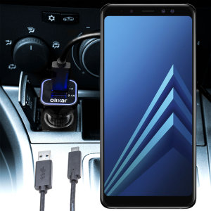 Keep your Samsung Galaxy A8 2018 fully charged on the road with this compatible Olixar high power dual USB 3.1A Car Charger with an included high quality USB to USB-C charging cable.