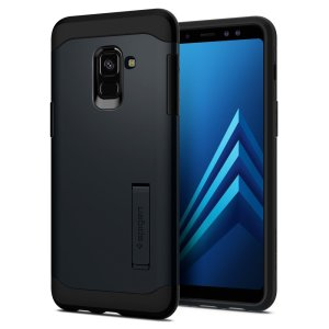 The Slim Armor case for the Samsung Galaxy A8 2018 in metal slate has shock absorbing technology specifically incorporated to protect the device from impacts from any angle.