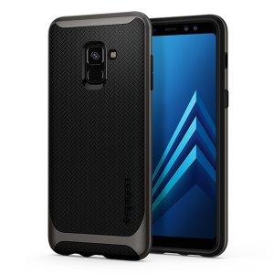 La Spigen Neo Hybrid est la nouvelle leader des coques protectrices légères. La coque Samsung Galaxy A8 2018 Spigen Neo Hybrid en coloris gunmetal intègre la nouvelle technologie à coussins d'air (Air Cushion) afin de réduire d'une part l'épaisseur de la coque, et d'autre part d'absorber plus efficacement les chocs accidentels subits par votre smartphone. Une fois en place, la coque Spigen Neo Hybrid offre une protection optimale à votre Samsung Galaxy A8 2018.
