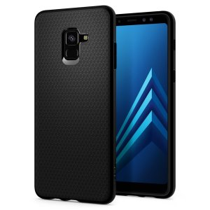 The Spigen Liquid Air in black is a TPU lightweight protective case. Spigen's flexible and elastic material reduces the thickness of the case while providing shock absorption and a comfortable grip for your Samsung Galaxy A8 Plus 2018.
