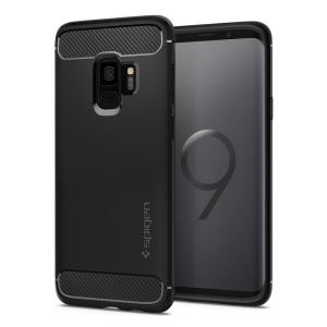 Meet the newly designed rugged armor case for the Samsung Galaxy S9. Made from flexible, rugged TPU and featuring a mechanical design, including a carbon fibre texture, the rugged armor tough case in black keeps your shiny new phone safe and slim.