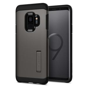 The Spigen Tough Armor in gunmetal is the new leader in lightweight protective cases. The new Air Cushion Technology corners reduce the thickness of the case while providing optimal protection for your Samsung Galaxy S9.