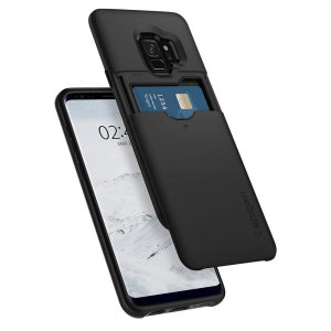 The Spigen Samsung Galaxy S9 Slim Armor CS Case in black features a back compartment that can hold up to 2 credit cards or IDs. It is constructed with the Air Cushion Technology that gives extreme shock absorption and device protection.