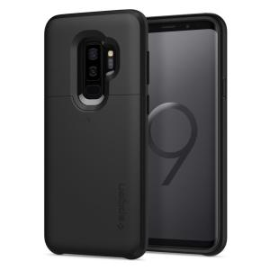 The Spigen Samsung Galaxy S9 Plus Slim Armor CS Case in black features a back compartment that can hold up to 2 credit cards or IDs. It is constructed with the Air Cushion Technology that gives extreme shock absorption and device protection.
