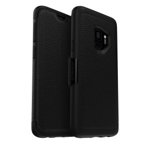 A sophisticated, lightweight and classy looking genuine leather OtterBox Strada folio case in black  offers perfect protection for your Samsung Galaxy S9, also featuring slots for your credit cards, cash and IDs.