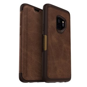 A sophisticated, lightweight and classy looking genuine leather OtterBox Strada folio case in brown offers perfect protection for your Samsung Galaxy S9, also featuring slots for your credit cards, cash and IDs.