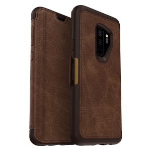 A sophisticated, lightweight and classy looking genuine leather OtterBox Strada folio case in brown offers perfect protection for your Samsung Galaxy S9 Plus, also featuring slots for your credit cards, cash and IDs.