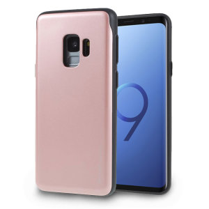 Designed for the Samsung Galaxy S9, this rose gold & black card case from Mercury provides a perfect fit and durable protection against scratches, knocks and drops with the added convenience of a credit card-sized sliding slot.