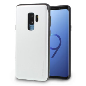 Designed for the Samsung Galaxy S9 Plus, this silver card case from Mercury provides a perfect fit and durable protection against scratches, knocks and drops with the added convenience of a credit card-sized sliding slot.
