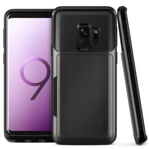 Protect your Samsung Galaxy S9 with this precisely designed case in metal black from VRS Design. Made with tough yet slim material, this hardshell construction with soft core features patented sliding technology to store two credit cards or ID.