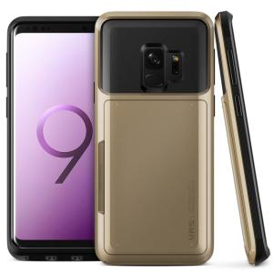 Protect your Samsung Galaxy S9 with this precisely designed case in gold from VRS Design. Made with tough yet slim material, this hardshell construction with soft core features patented sliding technology to store two credit cards or ID.