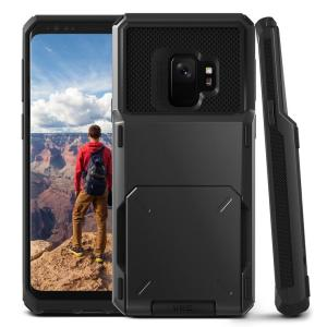 Protect your Samsung Galaxy S9 with this precisely designed case in metal black from VRS Design. Made with tough yet slim material, this hardshell construction with soft core features patented flip technology to store credit cards or ID.