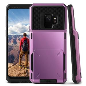 Protect your Samsung Galaxy S9 with this precisely designed case in ultra violet from VRS Design. Made with tough yet slim material, this hardshell construction with soft core features patented flip technology to store credit cards or ID.