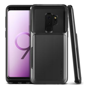 Protect your Samsung Galaxy S9 Plus with this precisely designed case in metal black from VRS Design. Made with tough yet slim material, this hardshell construction with soft core features patented sliding technology to store two credit cards or ID.